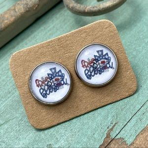 FREE AND BLESSED Cabochon Stud Americana Earrings